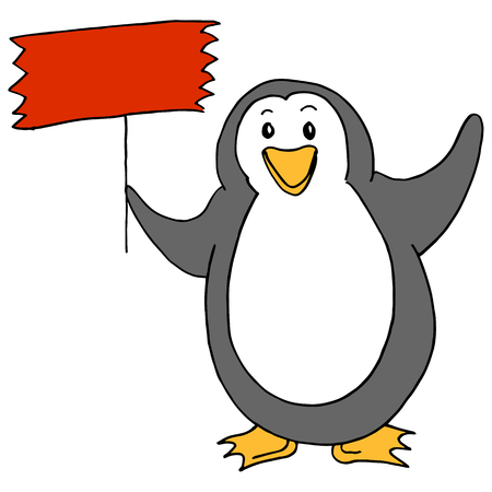 An image of a Cute Penguin Holding Sign. 向量圖像