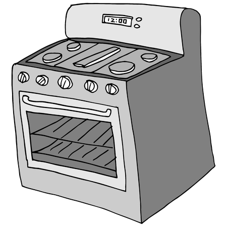An image of a retro stove drawing.
