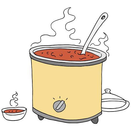 Une image d'un dessin rétro de crockpot au chili.
