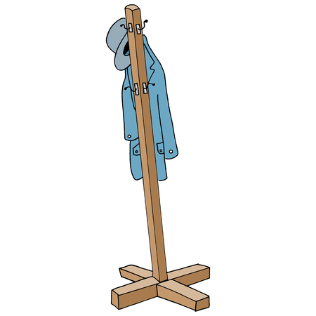 An image of a retro coat rack. 向量圖像