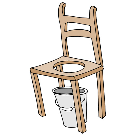 An image of a wooden chair retro commode drawing. Ilustração