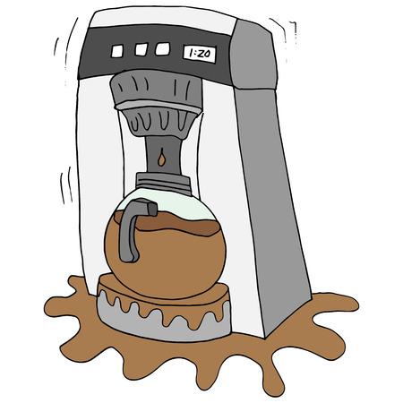 깨진 된 커피 메이커의 이미지입니다. 일러스트