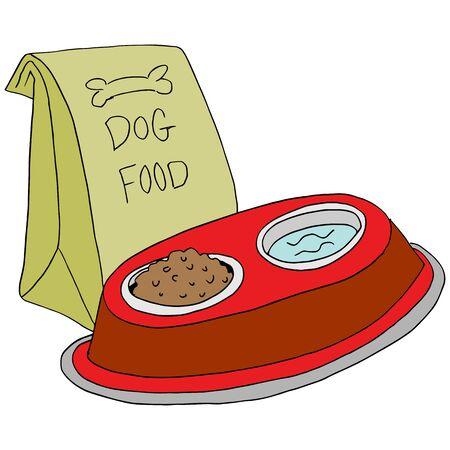 food: An image of a  dog food feeding station. Illustration
