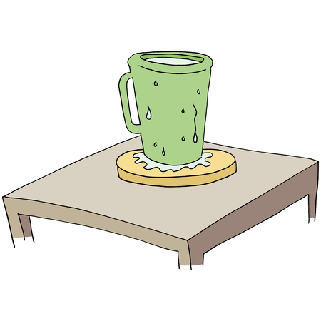 An image of a coaster protecting table from moisture.