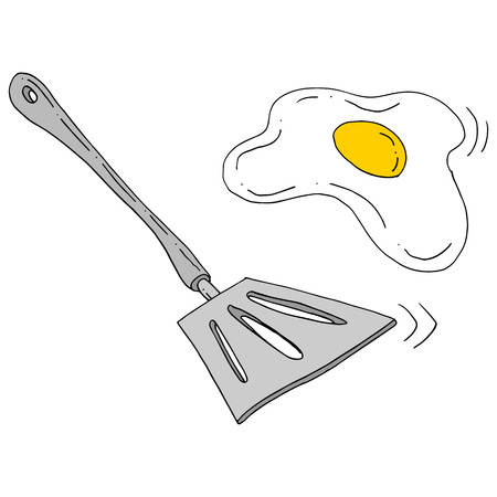 An image of a spatula flipping egg. 向量圖像