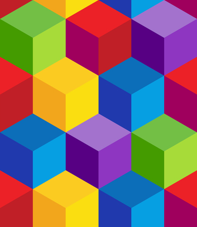 An image of a seamless repeating rainbow 3d cube wallpaper pattern. Illustration