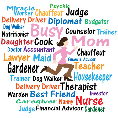 An image of a Busy Mom Word Cloud. Illustration