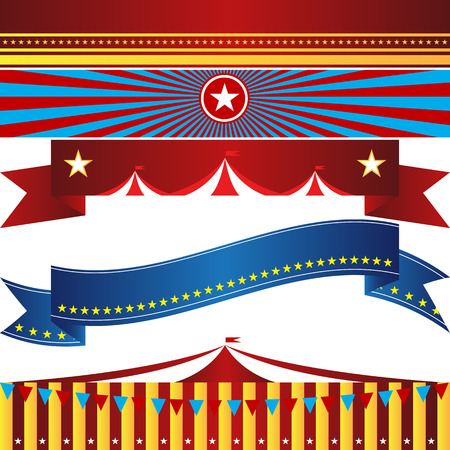 An image of a set of circus themed banners illustration.