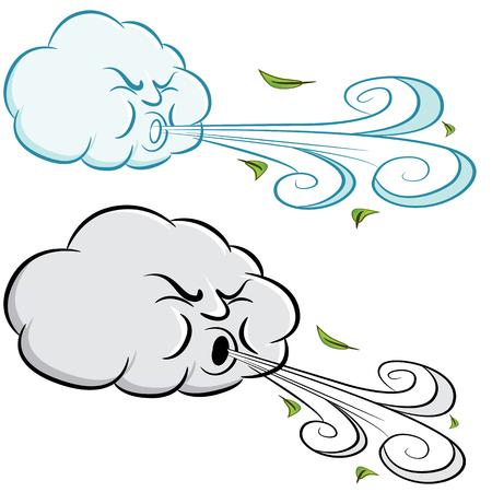 Un'immagine di una nuvola ventosa che soffia vento e foglie.