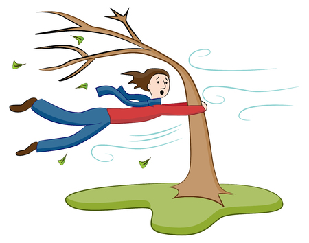 An image of a Man Holding On To Tree on Windy Day. Ilustracja
