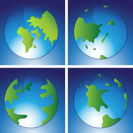 An image of earth with continents icon set.