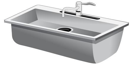 白で隔離された単一の洗面台ステンレス鋼の台所の流しのイメージ。