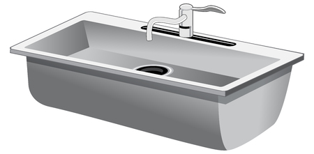 An image of a Single Basin Stainless Steel Kitchen Sink isolated on white. Illustration
