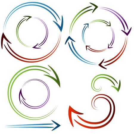 白い背景に分離された矢印円形成ダイヤルセットの画像。