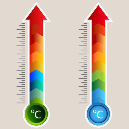 An image of a Celsius Heat Map Arrow Gauge Thermometer icon set.
