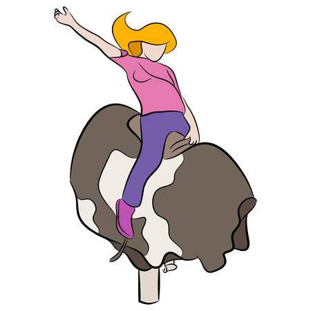 An image of a girl riding a mechanical bull.
