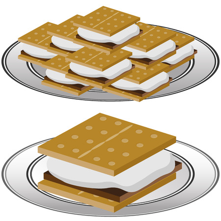 An image of a plate of graham cracker smores isolated on a white background. Illustration