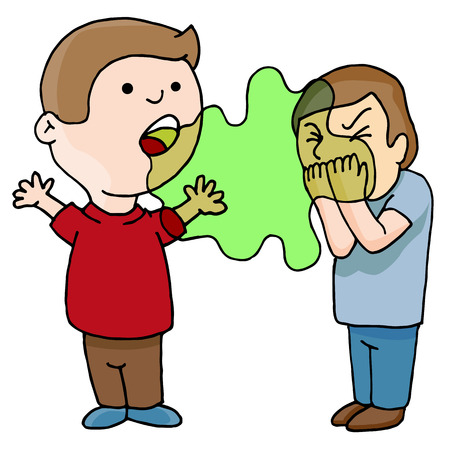 An image of a Two Men Talking Bad Foul Smelling Breath cartoon isolated on white. Stock Vector - 94099144