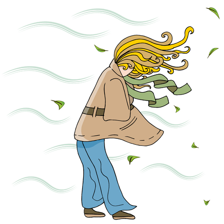An image of a Woman Walking Outside on a Windy Day Cartoon. Çizim