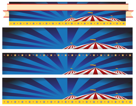 An image of a Circus Carnival Tent Banner Background Set. Illustration