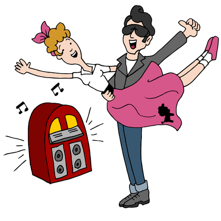 An image of a Sock Hop Rock and Roll 1950s Dancing Couple. Illustration