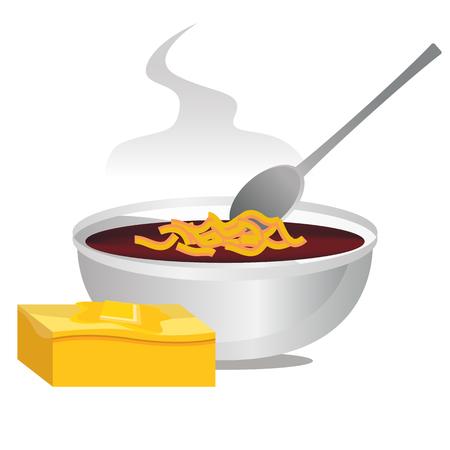 고추의 사 발 및 뜨거운 버터 드 콩과 화이트 절연의 이미지. 일러스트