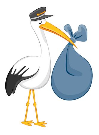 Een afbeelding van een ooievaar die babybundel levert die op grijze achtergrond wordt geïsoleerd.