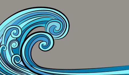Un'immagine di un disegno dell'onda del maremoto dello tsunami dell'oceano isolato su priorità bassa grigia. Vettoriali