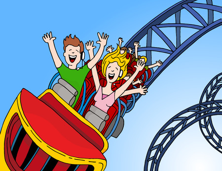 An image of call center operators riding a roller coaster.