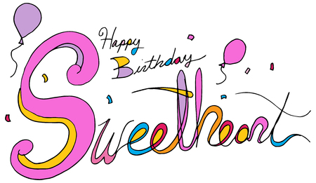 An image of a happy birthday sweetheart balloon confetti text message isolated on white background.