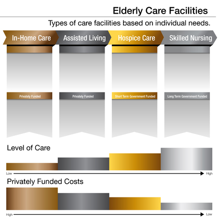 An image of an Elderly Care Facilities Bronze Silver Gold Platinum Chart. Stock Illustratie
