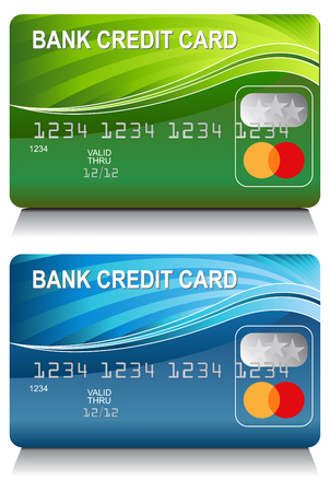 An image of a Bank Credit Card Energy Wave Pattern Set. Ilustrace