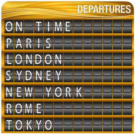 An image of a gold departures travel board. Isolated on white background. Illustration