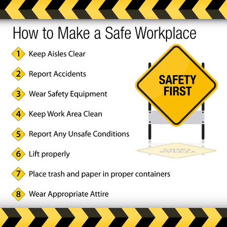 Obraz przedstawiający jak stworzyć bezpieczne miejsce pracy. Ilustracje wektorowe