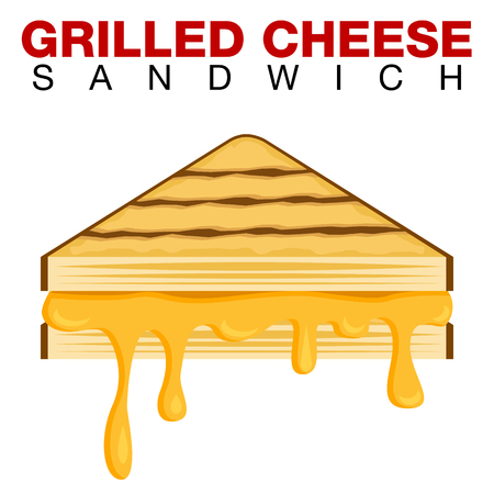 An image of a Grilled Cheese Sandwich Dripping Melting Cheese Isolated on White background. Иллюстрация