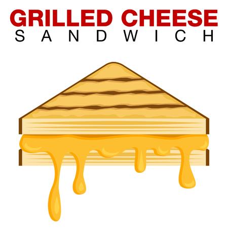 Een afbeelding van een gegrilde kaas Sandwich druipende smeltende kaas geïsoleerd op een witte achtergrond. Vector Illustratie