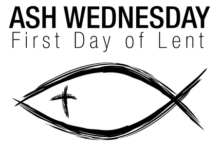An image of a Ash Wednesday Jesus Christian Fish Symbol isolated on white. Vettoriali
