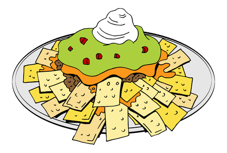 An image of a Nachos Plate Cheese Guacamole Sour Cream isolated on white background.