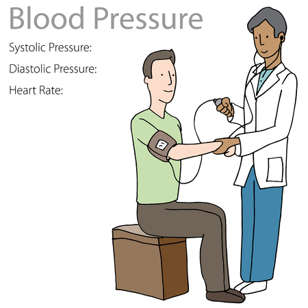 An image of a Blood Pressure Test Patient Doctor isolated on white background.