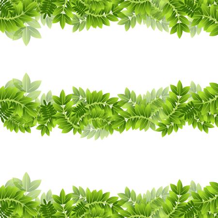 An image of Plant Leaf Leaves Green Frame Border Banner Foliage Set.