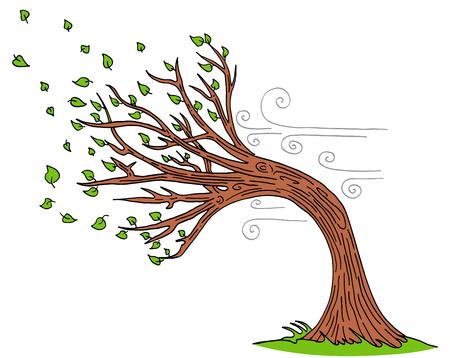 Obraz wiejący wiatr na ilustracji wektorowych wietrzny dzień na białym tle