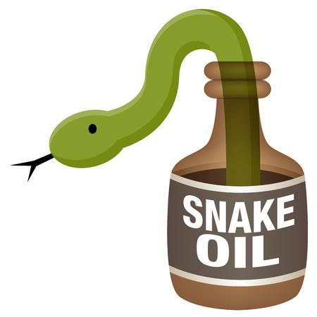 Snake oil labeled bottle with green snake coming out. Vector illustration. Иллюстрация