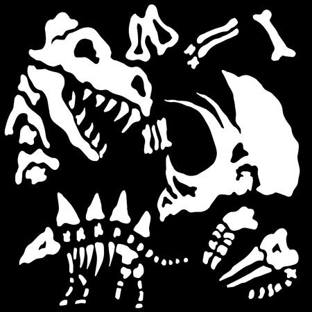 묻힌 공룡 뼈의 이미지. 일러스트