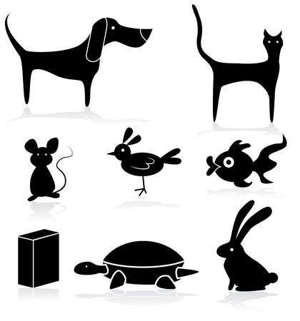 Images of pet store animals icon set. Illustration