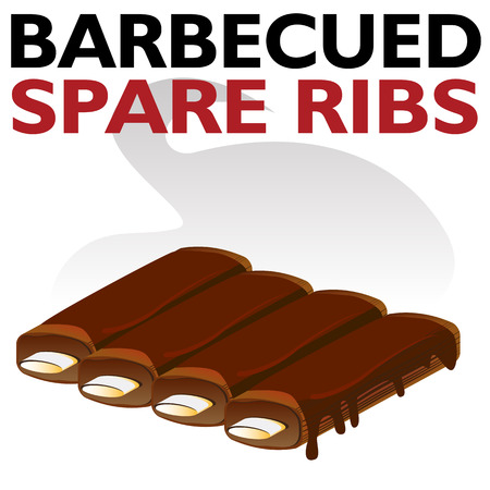 An image of a Hot Barbecued Sauced Spare Ribs isolated on white. Vectores