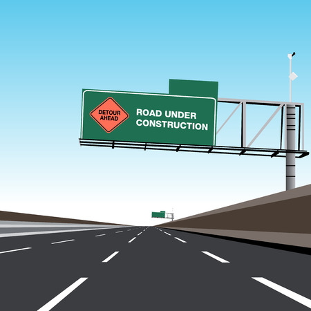 An image of an Empty Freeway Road Under Construction Detour Sign.