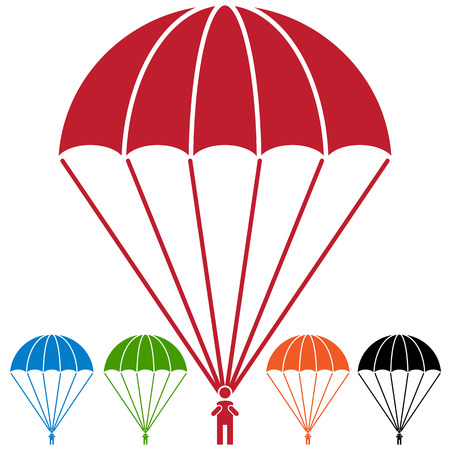 An image of a Paratrooper Parachute Skydiver Icon Set. Illustration