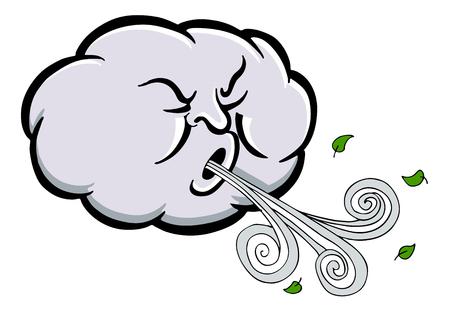 Obraz kreskówki zły wiatr wiejący chmury na białym tle. Ilustracje wektorowe