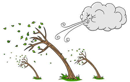 An image of a windy day, trees and cloud, blowing wind cartoon.