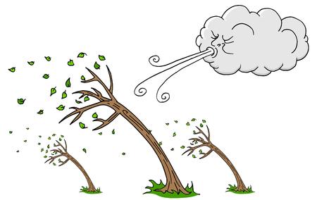 Obraz wietrzny dzień, drzewa i chmury, wiejący wiatr kreskówki.